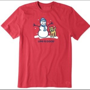 LIFE IS GOOD | snowman and dog tee